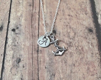 Anchor initial necklace - anchor jewelry, nautical necklace, sailing jewelry, silver anchor pendant, nautical jewelry, gift for sailor