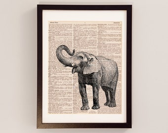 Vintage Elephant Dictionary Print - Elephant Art - Print on Vintage Dictionary Paper - Elephant Print - Elephant Trunk - Dictionart