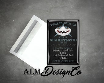 Shark Birthday Invitations - Shark Birthday Invites - Shark Birthday Party - Shark Birthday - Shark Invites
