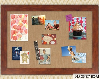 Magnetic Bulletin Boards | Framed Magnet Boards | Magnet Board | Decorative Magnet Boards - Honey Frame + Wheat Fabric
