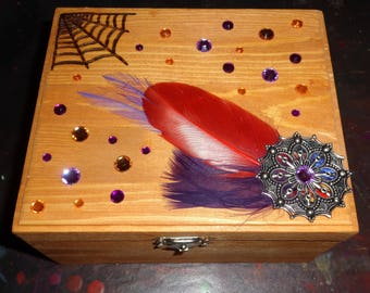 Halloween Themed Spider Web Box (Pyrography & Mixed Media) Free US Shipping