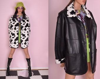 90s Reversible Cow Print Faux Fur and Black Faux Leather Coat/ 2XL/ 1990s/ Jacket