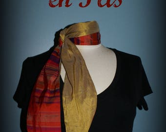 Retro scarf Les Petites Lyons - gold striped