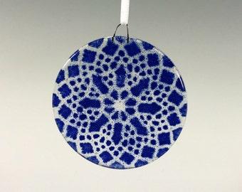 Lace Ornament, Fused Glass Ornament, Cobalt Blue, Doily, Blue Suncatcher