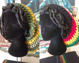 MEGA Slouchy Rasta Hat/Tam -  Ethiopian Shamma(Red/Gold/Green) or Yellow/Green/Beige