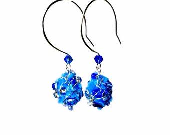 Bright Blue Dangle Earrings, Blue Drop Earrings,  Fabric Earrings,  Fiber Art, Art Jewelry, Cobalt Blue, Upcycled