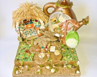 Island Beach Fairy House-Sand-Shells-Fae-Magic-Fairy-Gold