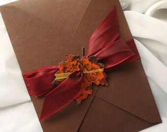 Fall Leaf Wedding Invitation, Fall Wedding Invitation Set, Autumn Leaf Wedding Invitation, Rustic Wedding Invite Set, Pocket Wedding Invite