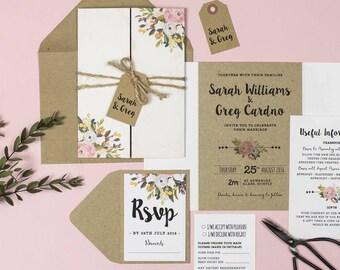 Wedding Invitation Suite - 'Bloom' Wedding Stationery Invitation Set - Custom Invitation - Wedding Invitations - Invitations