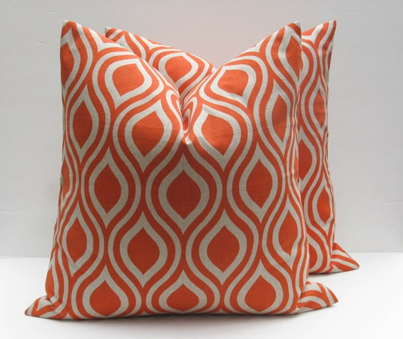 Unique Throw Pillow Covers 18x18 : Decorative Throw Pillow Covers Orange Pillow 18x18 Pillow Toss