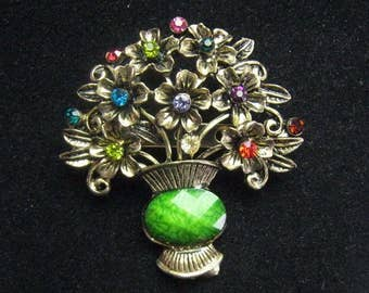 Colorful Rhinestone Flower Arrangement Brooch ~ A Perfectly Sized, Wearable Bouquet of Flowers ~ Welcome Spring!