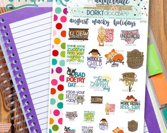 Wacky August Holidays Planner Printable - Cute Silly Holiday Print and Cut Planner Sticker Sheet