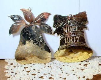 Pair Metal Christmas Ornaments, Noel, Bell, Partridge in Pear Tree, Upcycle, Crafting  (61-14)