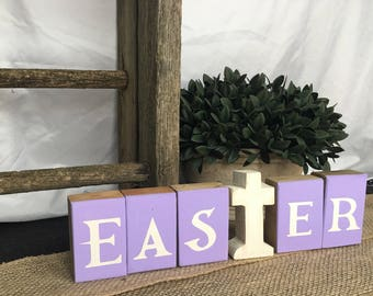 Easter Spring wooden Easter blocks with cross