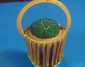 Antique Coquilla Nut Basket Pin Cushion, Tiny Heart made from Old Pins