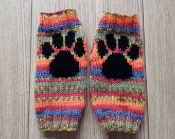 Paw print fingerless gloves - bright rainbow stripes - wrist warmers