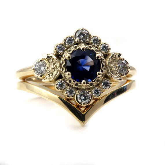 Sapphire and Diamond Engagement Ring Set - Triple Moon Boho Wedding Set with Chevron Wedding Band