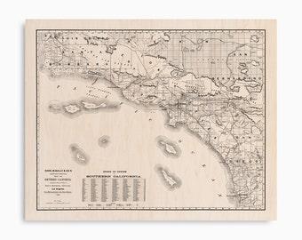 Southern California Map on Wood, Santa Barbara, Ventura, Los Angeles, San Bernardino, San Diego, Wood Maps, Vintage Maps, Wall Art Decor