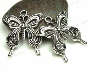 Bulk 18 Butterfly Pendants 27x24mm Antique Silver Tone Metal - Charms, Wholesale - BM8