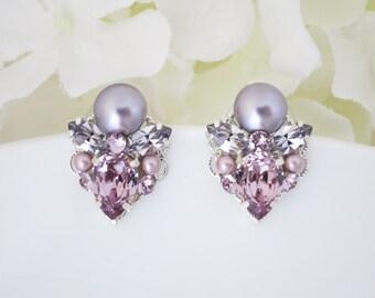 Amethyst earrings, Purple earrings, Swarovski crystal and pearl post earring, Purple wedding earrings, Bridesmaid earrings