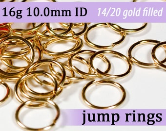 16g 10.0mm ID 14k gold filled jump rings -- jumprings goldfill jump rings 16g10.00 jumprings jewelry supplies