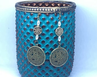 Boho earrings; Antique bronze earrings; Long dangle earrings; Handmade earrings