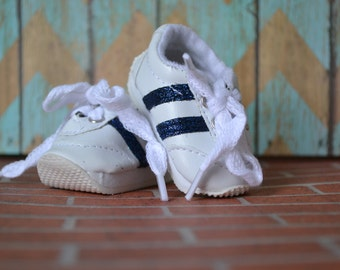 Doll Shoes - Navy Striped White Sneakers - fits American Girl Doll