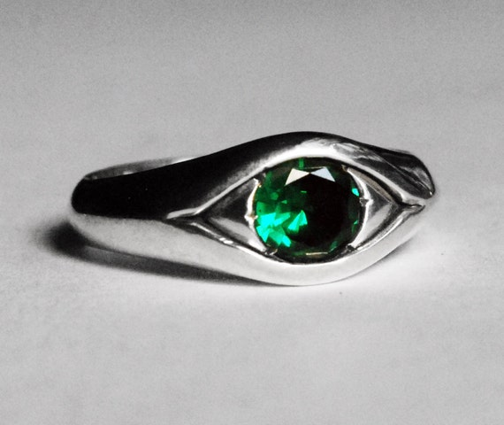 Large Sterling Silver and Green Spinel Eye Ring