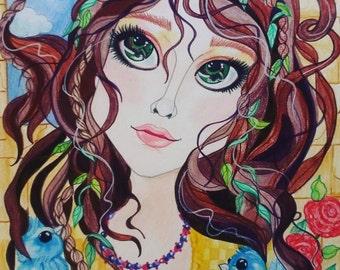 Fairytale Fantasy Rapunzel and The Bluebirds Art Print by Leslie Mehl Art