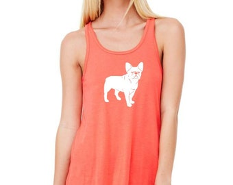 Bulldog Shirt French Bulldog Tank Top, Shirts For Women, Summer Fashion Bella Flowy Racerback Tank Beach Clothes Hand Screenprinted top