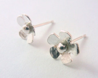 Silver Flower Earrings - 925 Solid Sterling Silver Small Daisy Flower Ear Studs