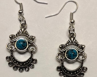 Earrings. Dangle Earrings. Drop Earrings. Jewelry. Silver Tone Earrings. Bohemian Earrings. Boho Earrings. Southwestern Earrings.