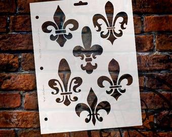 """Large Fleur de Lis Stencil- 8 1/2"""" x 11""""- By StudioR12- STCL119"""