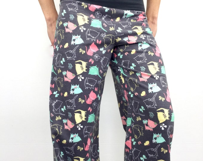 Kitty Kitty - 100% Cotton Flannel - High Waistband in Bamboo- Party Pajamas by So-Fine