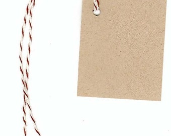 "100 BLANK KRAFT Hang Tags & Brown Bakers Twine Strings. Size 1-3/4""x 2-1/8"" ~ Gift Tags ~ Tags for Crafts ~ Vendors Welcome"