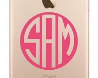 iPhone 5 6 Plus 7 plus 8 plus Stickers / iPhone 6 Plus Monogram Stickers / iPhone 6 Plus Monogrammed Stickers / Custom phone Monograms