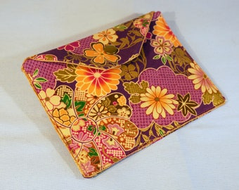 Envelope clutch - purple Japanese fabric