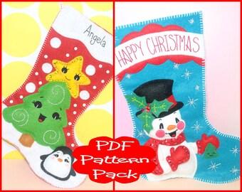 PDF Pattern - Felt Christmas Stocking Pattern Pack - For Sewing Soft Christmas Festive Holiday Snowman Mini Christmas Stocking Decoration