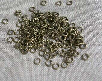 Lot de 50 anneaux ouverts, dorés, couleur bronze rétro - 6mm