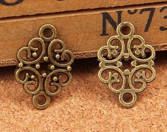 50 pcs of antique bronze  flower Charm Pendants 20x13mm double holes