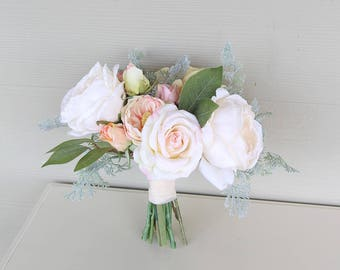 Silk Flower Wedding Bouquet | Cream, Blush, Light Peach and Gray-Green | Garden Inspired Bridal Bouquet | SG-1003