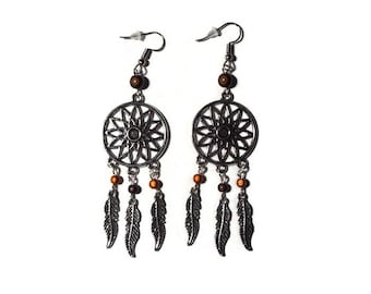 """Dream catcher earrings dream and bead magic Brown """"/ Feather/dreamscatcher/gift"""""""