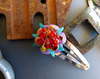 Bead Crochet Flower French Hair Clip in Red Teal and Purple