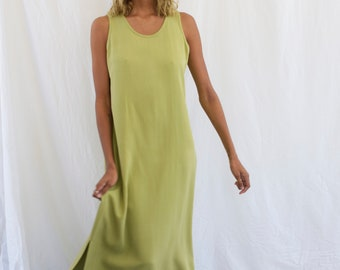 vintage green silk maxi dress small