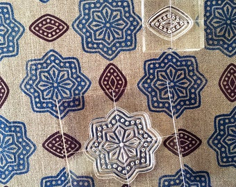 Temple Garden - Block Print Fabric Stamp Set - Textile Printing - Clear Stamps set of six