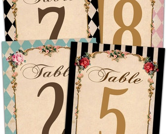 Alice in wonderland table numbers. Mad hatter tea party table numbers. Wonderland table numbers.