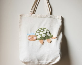 Reusable Grocery Tote with Hand Stitched Turtle Made from Recycled Water Bottles