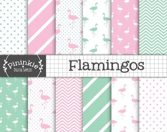 Flamingos Digital Paper, Green & Pink Flamingo Scrapbooking Paper, Bird Backgrounds, Instant Download, Commercial Use