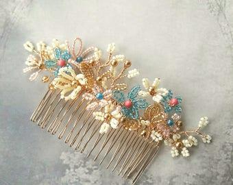 Summer bright flowers wedding hair comb, Blossom spray,  French beaded flowers, Bridal hair accessory, Bridesmaid headpiece, Comb headdress