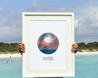 MoonLight Coastal landscape A3 poster - Minimal art moon on over the sea - sea print- A3 plus size wall Nautical NTC023A3P